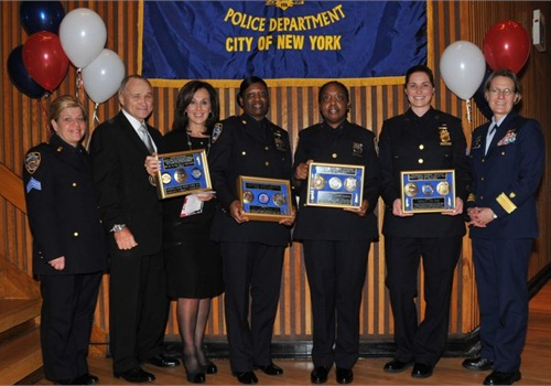 From left to right, Sgt. Karen Pisano; Commissioner Ray Kelly; TV personality Rosanna Scotto; Officer Morna Davis; Officer Carolyn Anderson; Sgt. Tara Dawe; and U.S. Coast Guard Rear Admiral Linda Fagan. Photo: NYPD