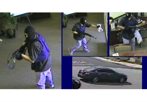 Bank surveillance images show the suspect in a Feb. 29 robbery. Photos: Chino PD