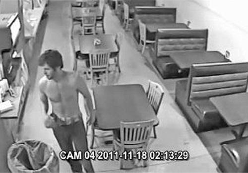 Surveillance image of Branden Plummer. Screenshot: Iowa City PD
