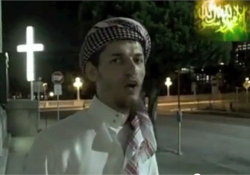 Screnshot of Sami Osmakac appearing in an online video espousing his extremist beliefs.