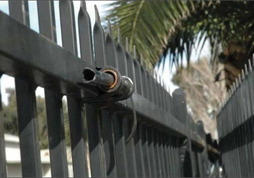 This zip gun was attached to the fence of a gang task force in Hemet, Calif. Photo: ATF.