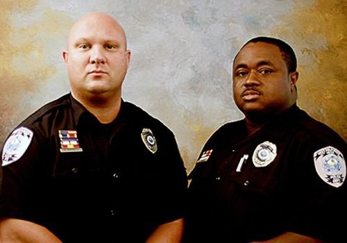 Photo of Officers Rade Momirovich (left) and Covelle Padgett courtesy of NLEOMF.