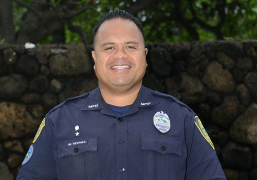 Officer Marvin Tevaga of the Maui Police Department has been named the Floyd Ledbetter National School Resource Officer of the Year. Image courtesy of NASRO.