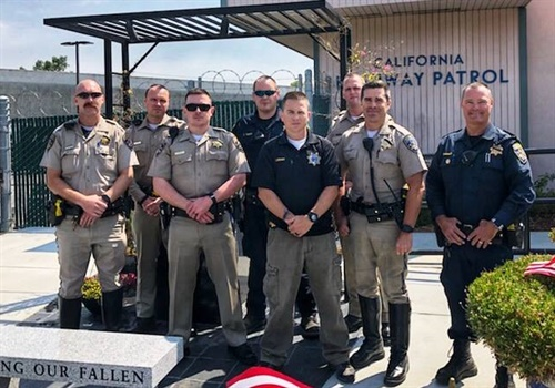 Officer Martin Lendway (in the center of the picture in a blue polo shirt) was struck by a DUI driver in January. He is now recovering from his injuries. CHP Contra Costa / Facebook.