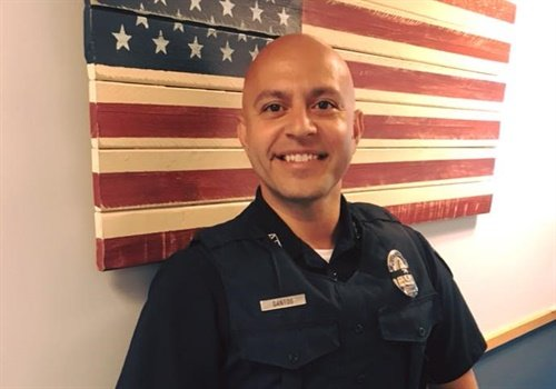 Officer Luis Santos with the Auburn (MA) Police Department has returned to duty, according to a post on the Auburn Police Association Facebook page. Image courtesy of Auburn PD / Facebook.