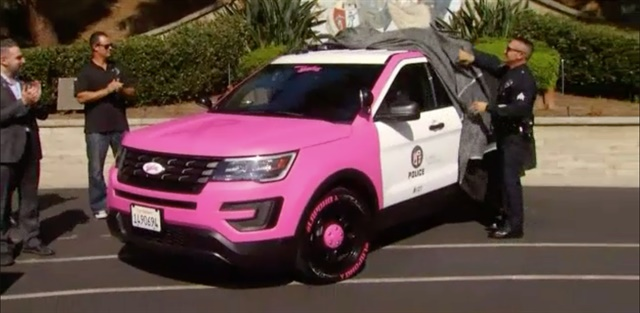 The LAPD unveiled a pink Ford patrol SUV for breast cancer awareness Wednesday. (Photo: NBC4 Screen Shot)