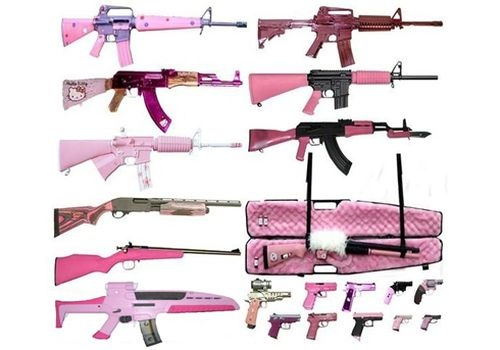 Photo of real guns painted pink to look like toy guns via LAPPL.