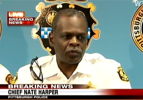 Chief Nate Harper addresses the media in September. Screenshot via WTAE.