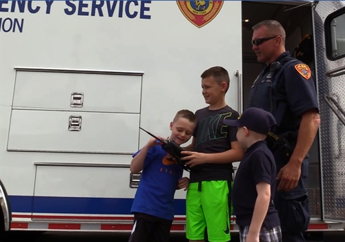 Police officers with the Suffolk County (NY) Police Department welcomed three new members of the force on Wednesday—11-year-old Jesse Pallas, nine-year-old Zachary Cote, and 10-year-old Sean Hughes. Image courtesy of Suffolk County PD / Facebook.