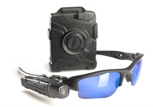 TASER's Axon Flex arrives with a lightweight camera and controll module. Sunglasses are sold separately. Photo: TASER International.