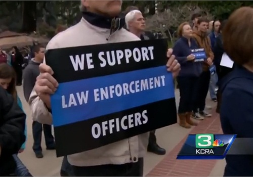Police supporters rally at California state Capitol. (Photo: KCRW screen grab)