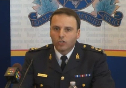 RCMP leaders brief the media Monday about a foiled al-Qaeda train plot. Screenshot via CBC News.