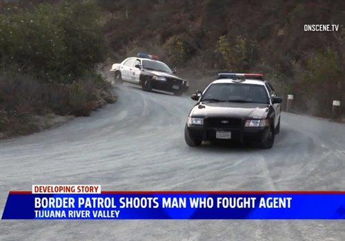 Screen grab of video report from KSWB-TV of San Diego Police responding to the scene of an incident in which a man is accused of striking a Border Patrol Agent with a rock and stealing his ATV. Image courtesy of KSWB-TV.