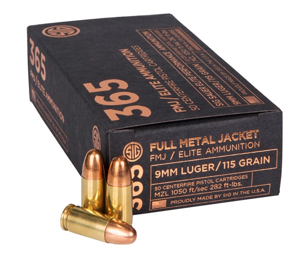 SIG 365 Elite Performance Ammunition in 115-grain 9mm SIG FMJ. (Photo: SIG Sauer)