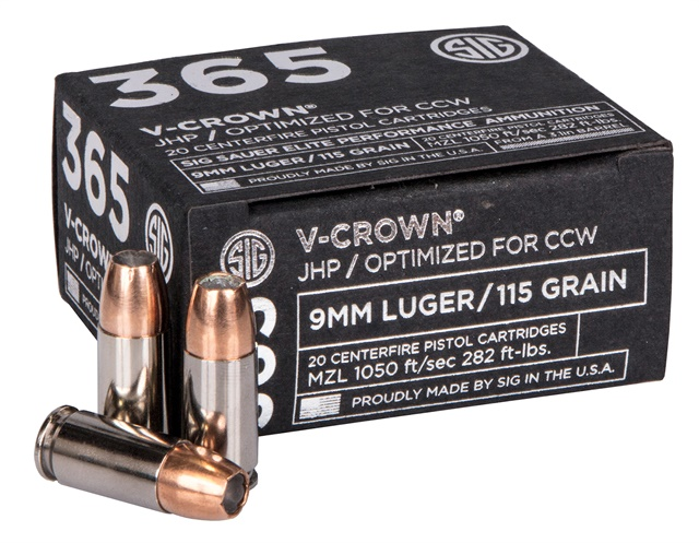 SIG 365 Elite Performance Ammunition in 115-grain 9mm SIG V-Crown. (Photo: SIG Sauer)