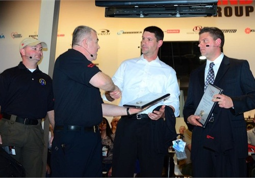 (l. to r.) Corporal Pete Penney, Deputy Brad Grice, and Master Deputy Jeff Maxwell are honored by Safariland.