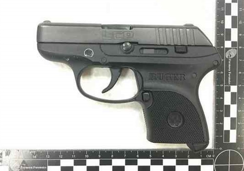 Authorities at Taiwan Taouyan International Airport took this photograph of the handgun a Santa Monica PD officer reportedly brought into the country in her carry-on luggage. (Photo: Taiwan Taouyan International Airport)
