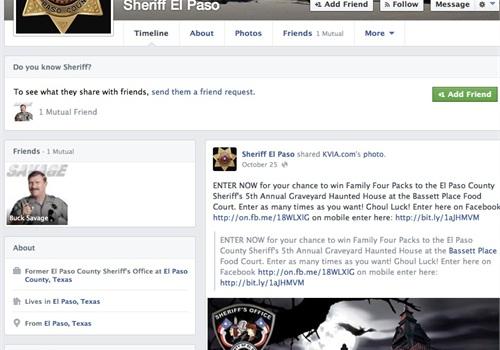 Screenshot of El Paso Sheriff's Facebook page