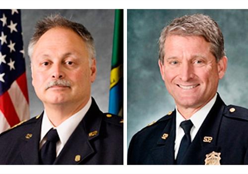Jim Pugel (right) replaces John Diaz as Seattle PD's interim chief. Photos courtesy of SPD.