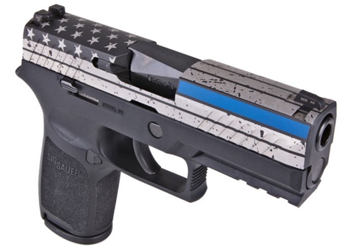Special Edition Thin Blue Line SIG Sauer P320 Carry-size pistol (Photo: SIG Sauer)
