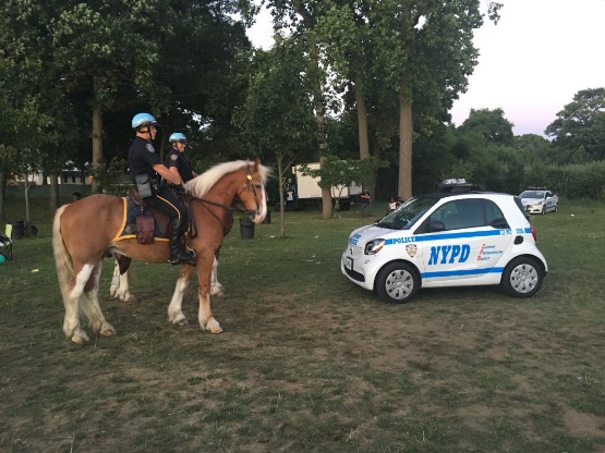 """Equestrian unit with NYPD Smart car shows size of the vehicle that the public calls """"adorable."""" Photo: NYPD 113th Precinct/Twitter)"""