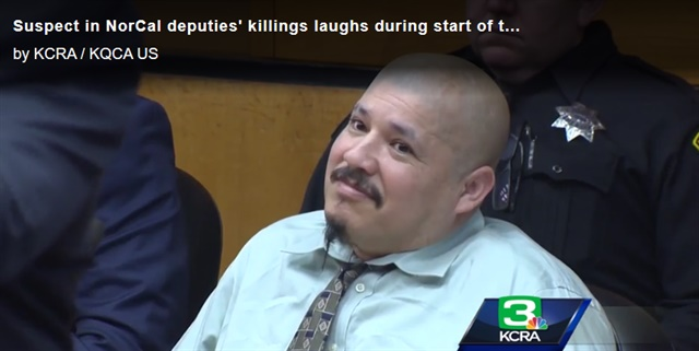 Luis Bracamontes is facing charges of murder in the killings of two Northern California deputies. Yesterday in court he laughed and smiled as prosecutors detailed the crime. (Photo: KCRA Screen Shot)