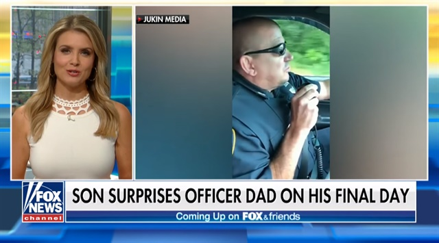 Officer Duane Ledoux — who served with the Southbridge Police Department for more than 30 years — became emotional when the final radio call announcing his retirement was delivered by his own son. Ledoux's son Nate had flown across the country to send his father off.