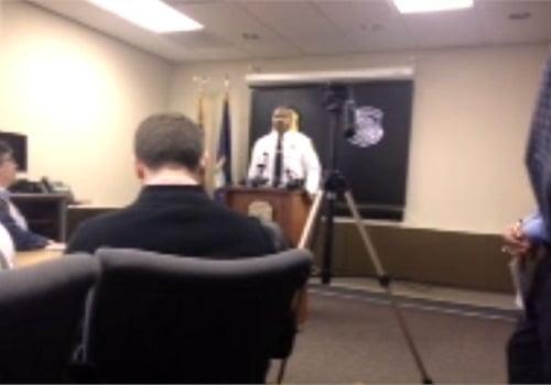 Southfield Police Chief Eric Hawkins addresses the media on Monday.Screenshot via MLive.com