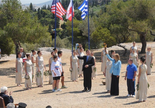 Hoisting of the Flags at the Special Olympics Torch Lighting Ceremony in Athens, Greece. (Photo: Special Olympics)