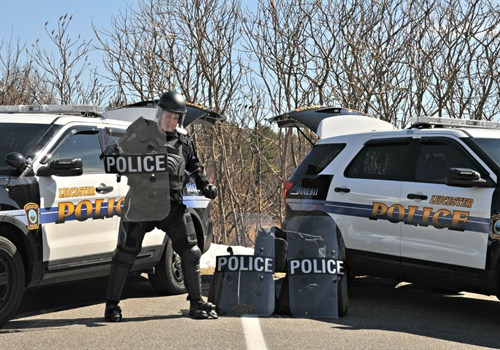 The Leicester (MA) Police Department is staging the five sets of granted protective equipment in portable gear bags in their patrol cars for quick deployment. Included are Damascus FlexForce suits, Damascus Vector gloves, and impact-resistant protective shields. (Photo: The Spirit of Blue Foundation)