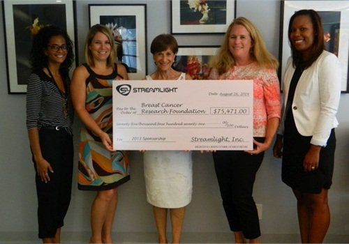 Streamlight Global Brand Manager Loring Grove (second from right) presents the company's donation to representatives of The Breast Cancer Research Foundation. Photo: Streamlight