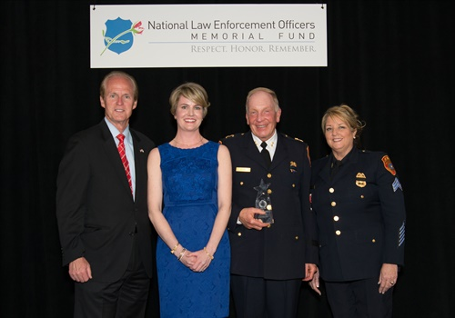 The 2017 National Officers Safety Award was presented to Dr. Scott Coyne and MedCAT Sgt. Colleen Cooney-Tsante. (Photo: Suffolk County PD)