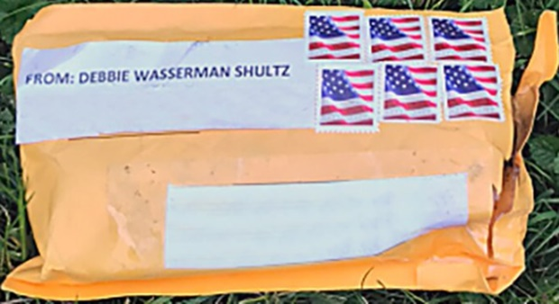 "One of several suspicous packages sent with a return address of ""Debbie Wasserman Shultz."" (Photo: FBI)"