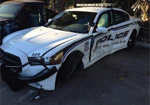 OfficerNatasha Stanek's Dodge Charger patrol car was hit broadside by a wrong-way driver. (Photo: Tampa PD)