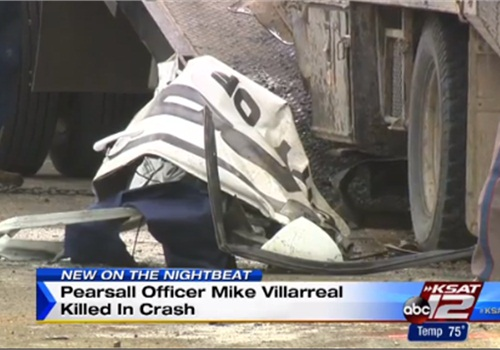 Officer Mike Villarreal of the Pearsall (Texas) Police Department was killed Sunday in an on-duty crash. (Photo: KSAT TV screen shot)