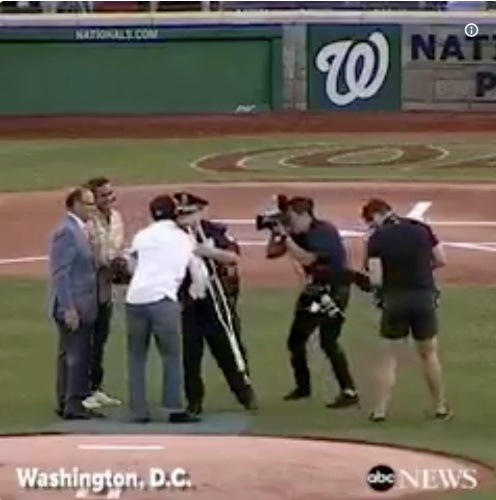 U.S. Capitol Police officer David Bailey who was injured during the attack on a congressional baseball practice. Thursday night he threw out the first pitch at the annual Congressional Baseball Game at Nationals Park. (Photo: ABC News Screen Shot/Twitter)