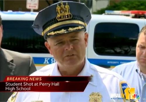 Baltimore County P.D.'s Chief Jim Johnson briefs the media on Monday. Screenshot via WBAL-TV