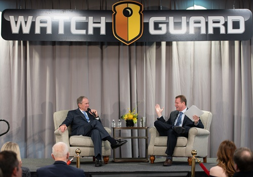 Guests started the evening by attending a private discussion with former President George W. Bush and Robert Vanman, WatchGuard Founder and CEO. (Photo: WatchGuard)
