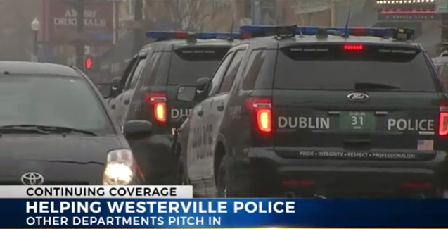 Officers from Dublin, Ohio, patrol the streets of Westerville, giving assistance to the Westerville Police. (Photo: NBC4 Screen shot)