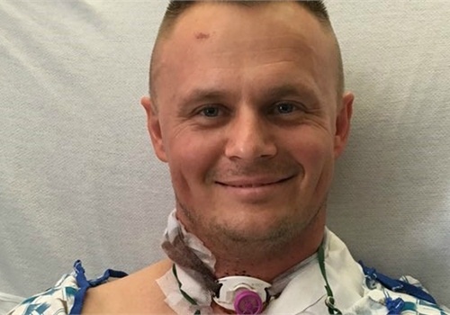 California Highway Patrol officer Andre Sirenko had his throat slashed in a confrontation with a homeless suspect last week. His condition has been upgraded to stable. (Photo: CHP)