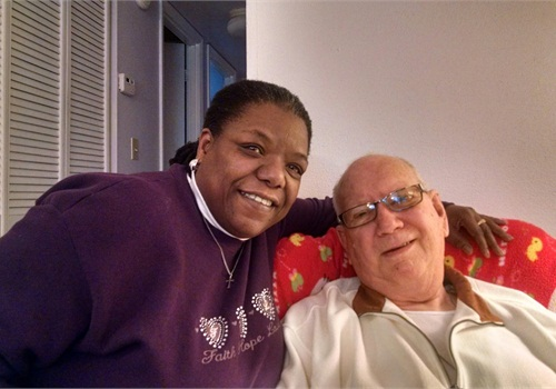 The Rev. Toni DiPina with retired officerGeorge Leuckel who saved her life back in 1963. (Photo:Toni DiPina)
