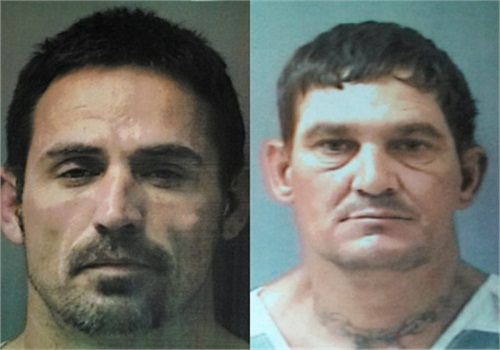 A manhunt is underway for Hopkins County Jail escapees John Marlin King (L) and Brian Allen Tucker (R). (credit: Hopkins Co. Sheriff's Dept.)