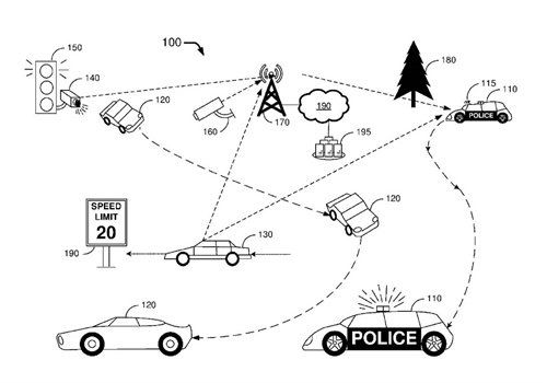Ford has filed for a patent on an autonomous police car. (Photo: Ford Patent)