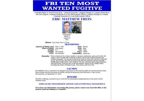 FBI most wanted poster for Eric Frein