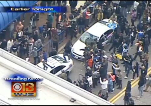 Baltimore protests over an in-custody death turned violent Saturday. (Photo: WJZ TV Screen Shot)