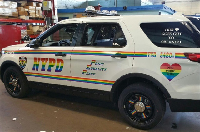 The NYPD rolled out this Gay pride patrol SUV last weekend for the annual parade. (Photo: NYPD)