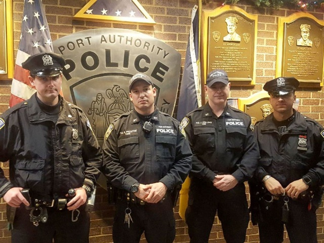 The The Port Authority Police Department officers involved in apprehending a terror suspect in New York City Dec. 11, 2017. L to R: Sean E. Gallagher, Drew M. Preston, John F. (Jack) Collins, Anthony J. Manfredini (Photo: Port Authority PD)