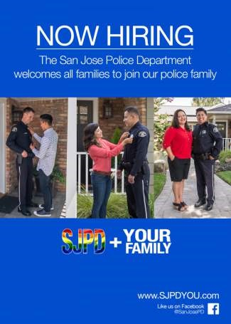 This recruiting ad for the San Jose Police shows actual gay, heterosexual, and lesbian officers. (Photo: San Jose PD)