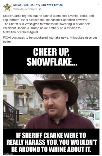 This image was posted on the Milwaukee County Sheriff's Office Facebook page. The man in the image has filed a formal complaint against Sheriff David Clarke.
