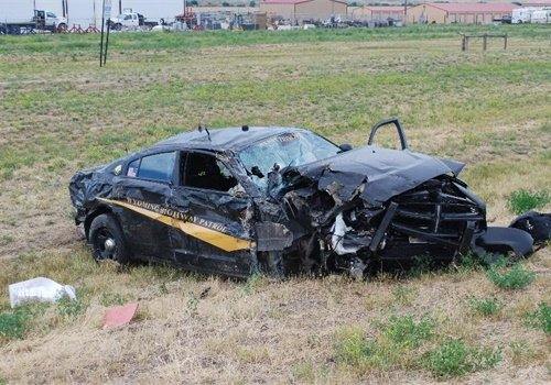 """A Wyoming Highway Patroltrooper was injured in a crash on the way to a """"shots fired"""" call Thursday. (Photo: Wyoming Highway Patrol)"""